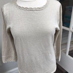 Pendleton silk/linen, 3/4 sleeve top, size M, ecru